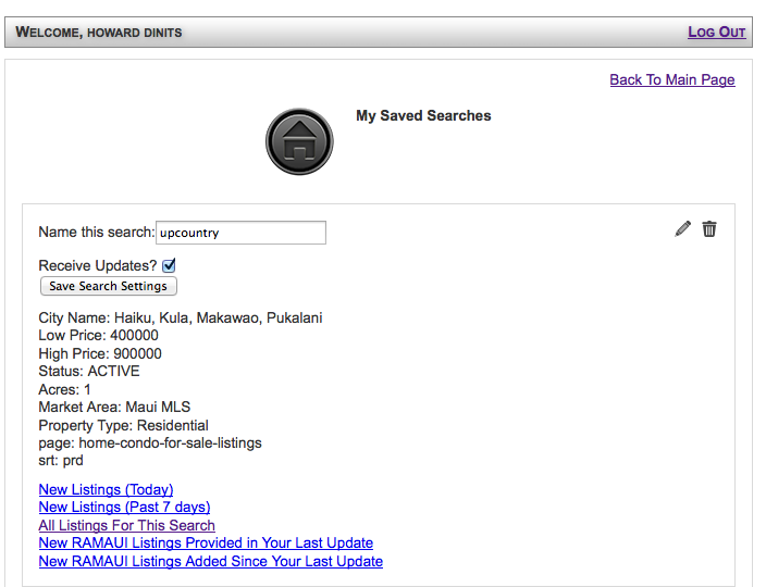 maui home search preferences