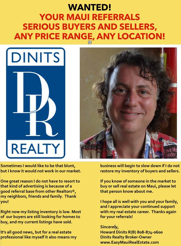 Maui Real Estate Referrals Wanted