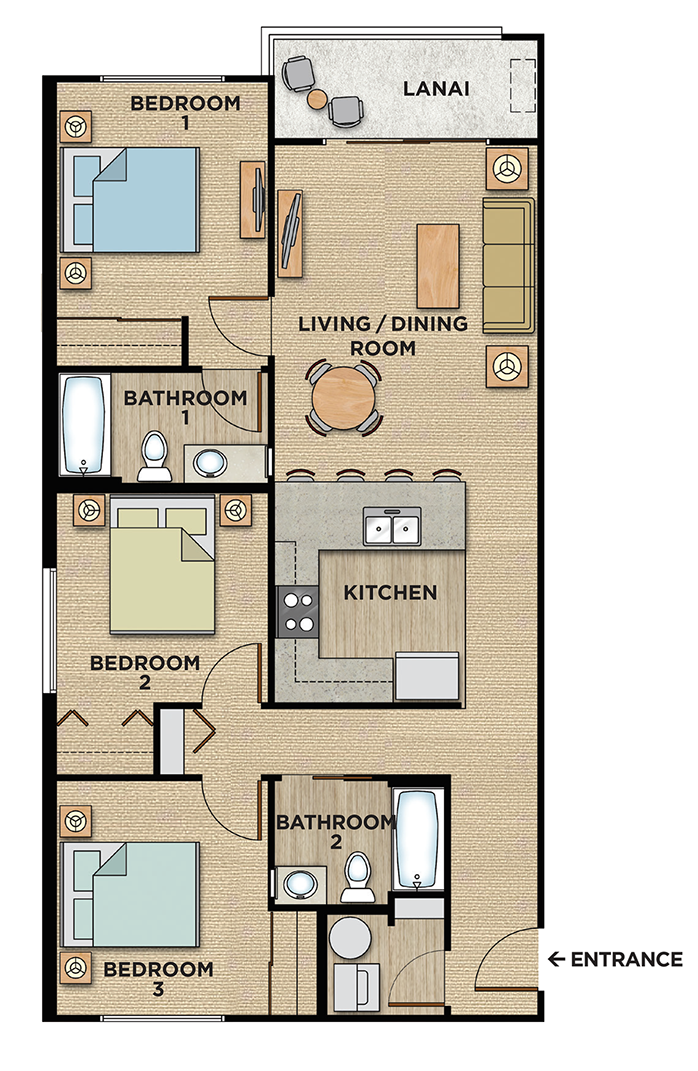 3 baedroom 2 bathroom Kalama Kai Condo