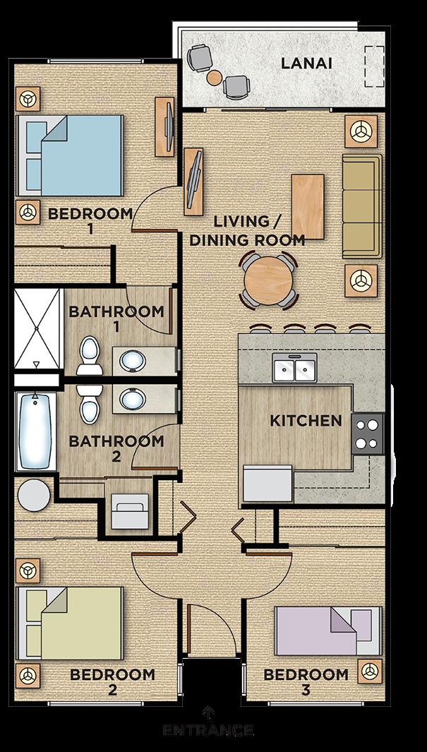 kalama Kai 3 bedroom floorplan